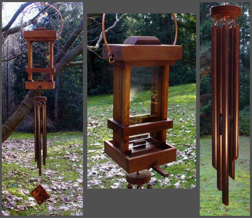 Bird Feeder, Wind Chime, Copper, Cedar, Deluxe, Handcrafted
