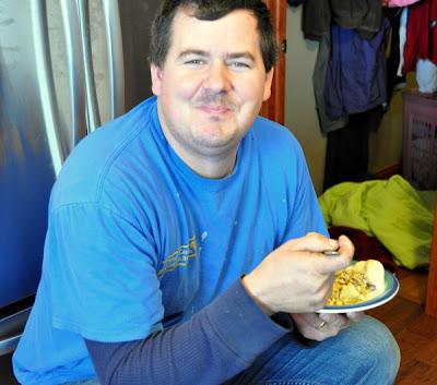 man eating Turkey Sausage pot pie