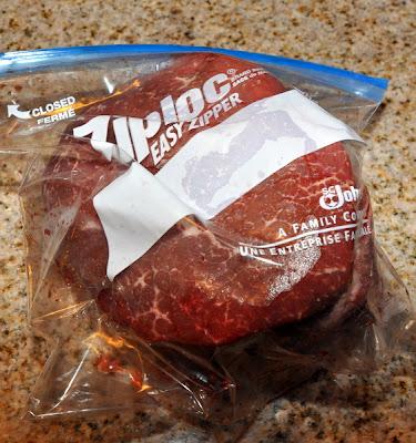 slow cooker root beer beef bbq steak in a bag