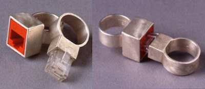 cat 5 connectionmale and female ring set in sterling silver and ethernet plug - Creative Wedding Rings
