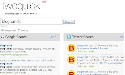 Twoquick Twitter Search BlogPandit