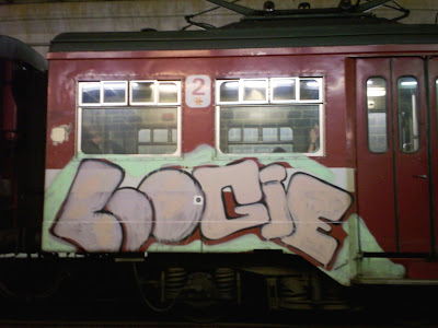 Loogie train graffiti