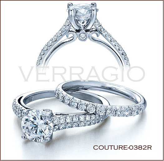 The Couture 0382r Features A Round Cut Diamond Center Set Into Four Gs Incorporating Lumino Setting So That All Angles Of Are Showing