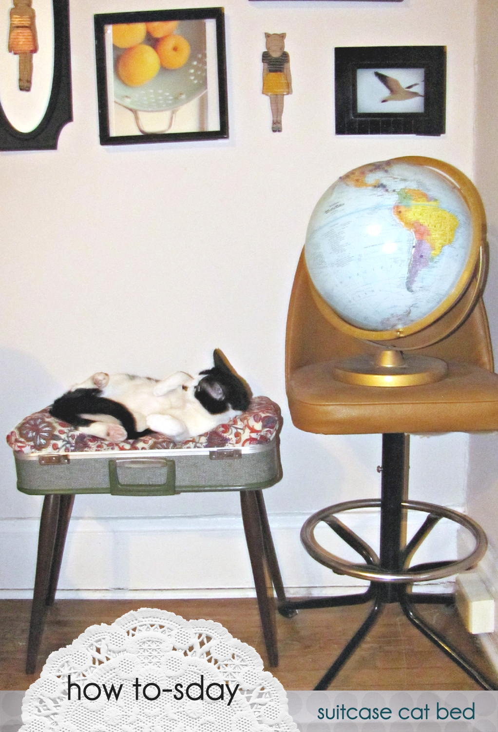 how to-sday . vintage suitcase cat bed - Shrimp Salad Circus