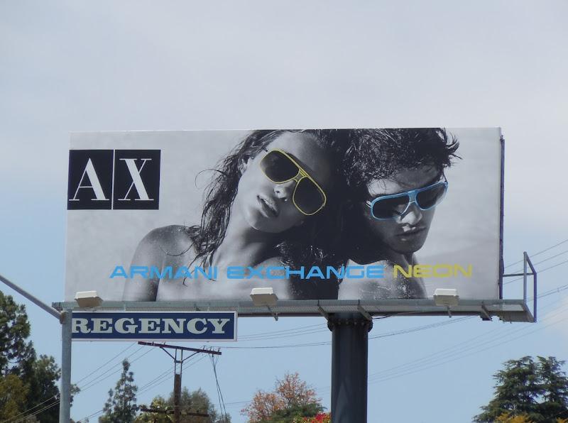 Armani Exchange Neon sunglasses billboard