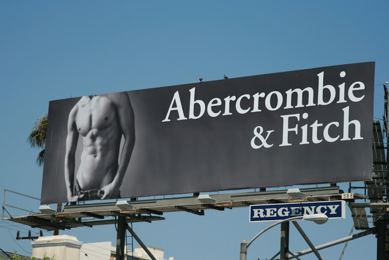 Abercrombie and Fitch hot male model torso billboard