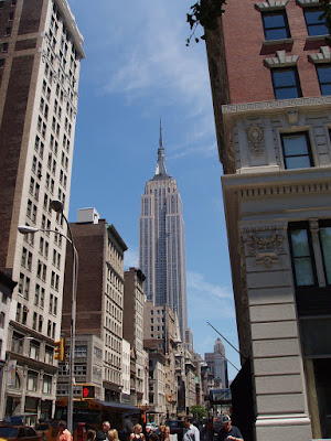 The Empire State Building seen from the streets of Manhattan