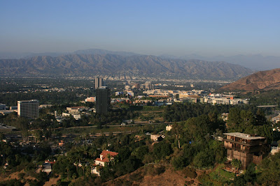 Mulholland scenic overlook with Burbank Mountains in the background
