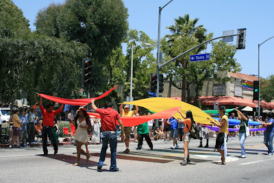 Rainbow flags at the L.A. Gay Pride Parade
