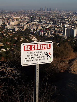 Be careful sign at Runyon Canyon