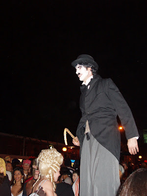 Charlie Chaplin on stilts at the WEHO Halloween parade