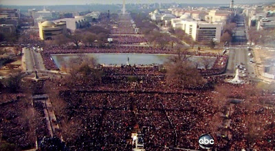 Crowds at President Obama's Inauguration day in Washington DC