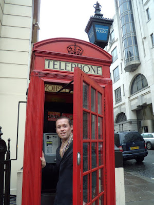 Jason in a classic British red telephone box