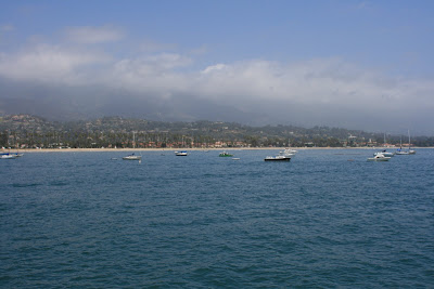 Boats along Santa Barbara coastline