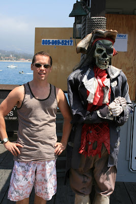 Stearns Wharf pirate and Jason in Hollywood