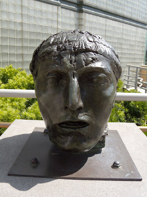 Head of the figure of Eloquence bronze sculpture at LACMA