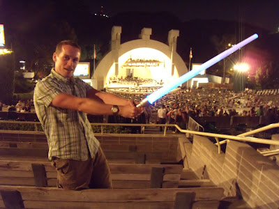 John Williams Hollywood Bowl lightsaber posing