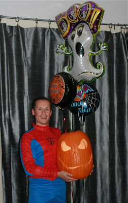 Halloween Spider-man and pumpkin