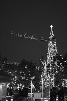Christmas tree at night at The Grove