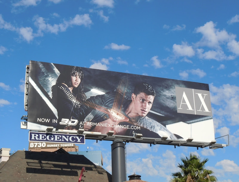 Armani Exchange 3D biker billboard