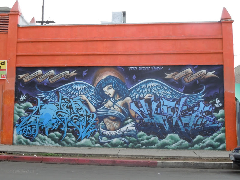When angels intervene graffiti mural