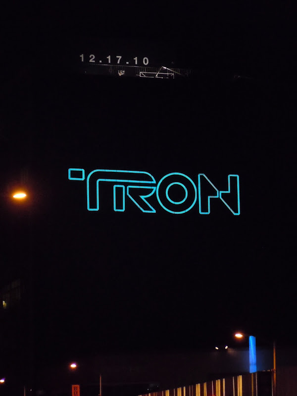 Tron Legacy teaser billboard at night