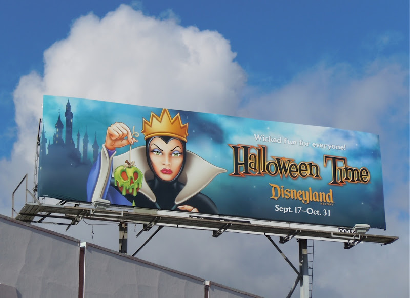Snow White Queen Halloween Disneyland billboard