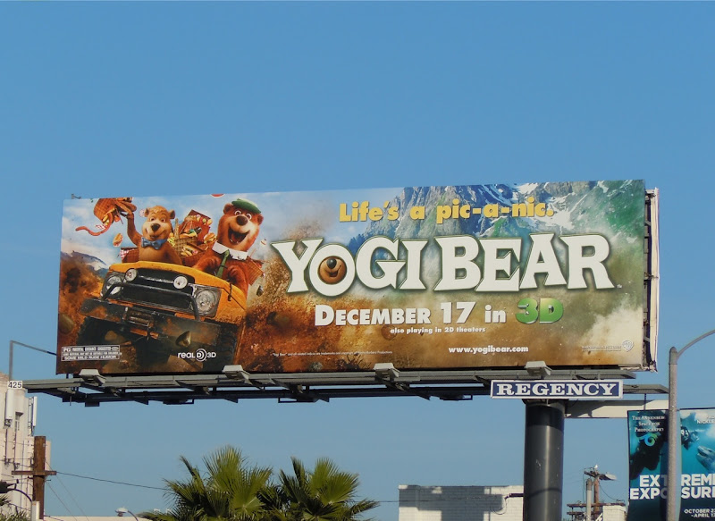 Yogi Bear driving billboard