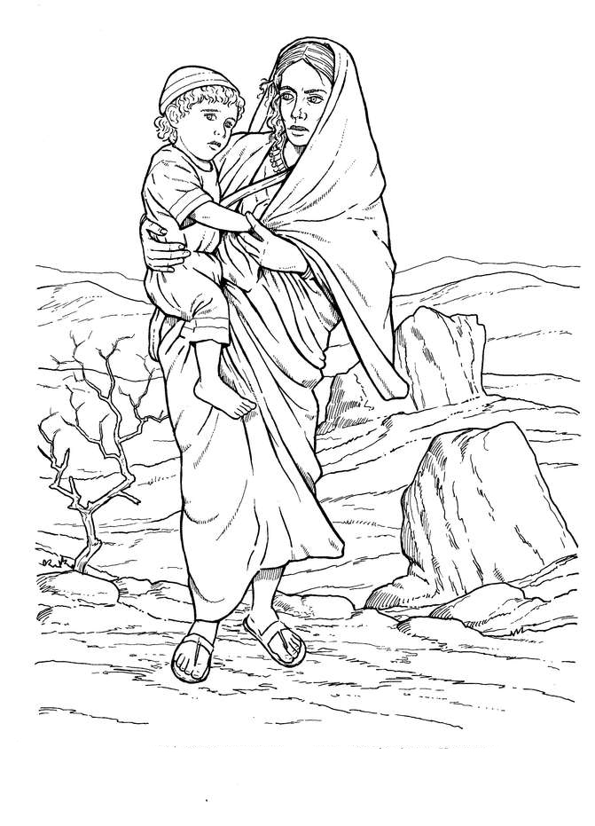hagar and ishmael coloring pages - photo#4