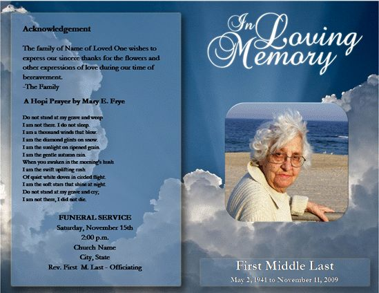 Loved One Passed Free Microsoft Office Funeral Service or Obituary - funeral service template