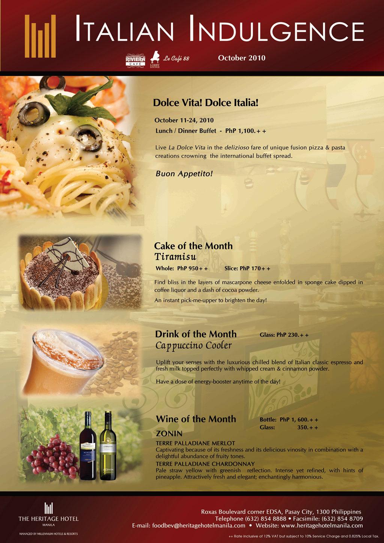 English To Italian Translator Google: The Heritage Hotel Manila: Italian Indulgence Only At The