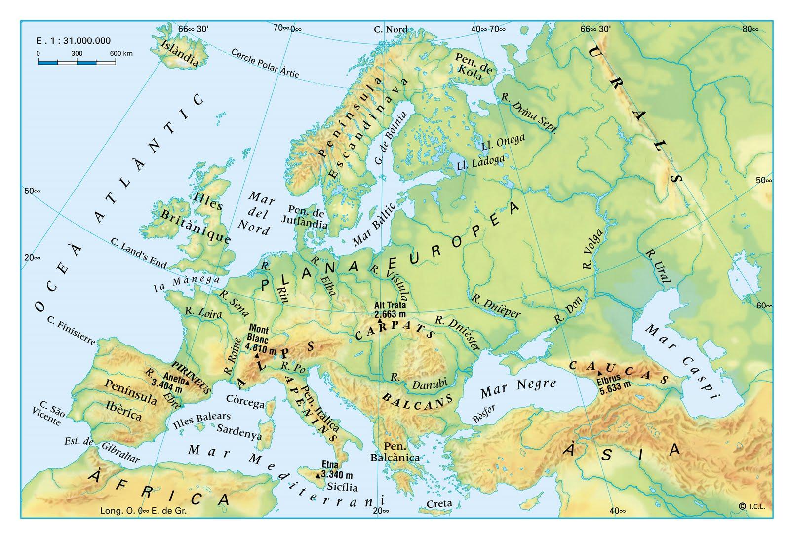 Mapa Fisic D Europa Rius.25 Imagenes Mapa Interactiu Europa