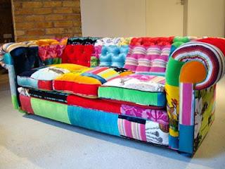cultura DIY, sillón a base de pedazos de tela