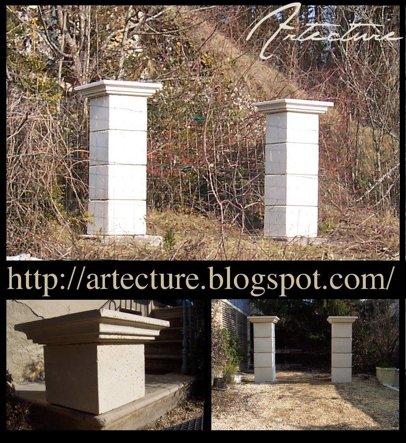 artecture piliers de portail en pierre reconstitu e. Black Bedroom Furniture Sets. Home Design Ideas