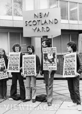 Poster used by protestors demanding inquiry into police killing of Blair Peach, 1980