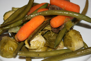 Did you know you could roast a whole bunch of vegetables all at the same time and cook them in the crockpot? Great way to have veggies all week long.
