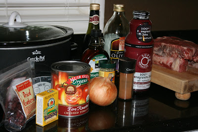 These are the ingredients you need for Pomegranate Beef in the CrockPot SlowCooker. pretty much the best slow cooker roast you'll ever have.