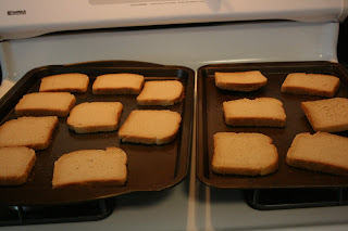 toasting bread for traditional stuffing in the crockpot slow cooker