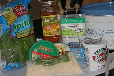 ingredients needed to make vegetarian pesto lasagna in the crockpot slow cooker