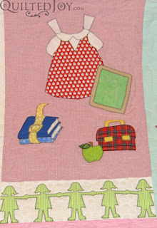 Paper Doll Applique Quilt with quilting by Angela Huffman - QuiltedJoy.com