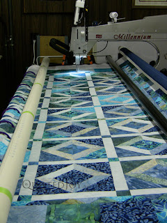 Blue Batik quilt on the APQS Millie Frame - QuiltedJoy.com
