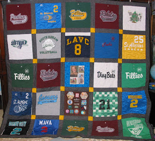 T-Shirt Quilt with Portrait and Brownie vest feature blocks