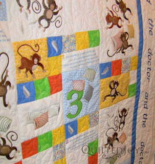 5 Little Monkeys baby quilt, quilted by Angela Huffman