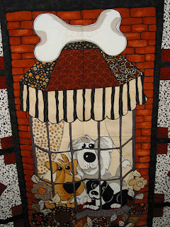 Dog Panel Quilt in Progress, quilting by Angela Huffman