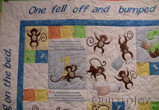 Monkeys on the Bed Quilt, with custom quilting by Angela Huffman - QuiltedJoy.com