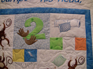 Five Little Monkeys quilt with quilting by Angela Huffman - QuiltedJoy.com