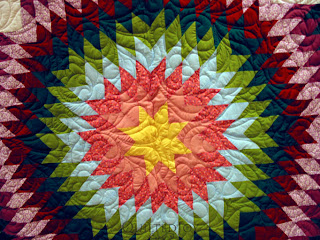 Lone Star Quilt with edge to edge quilting by Angela Huffman - QuiltedJoy.com