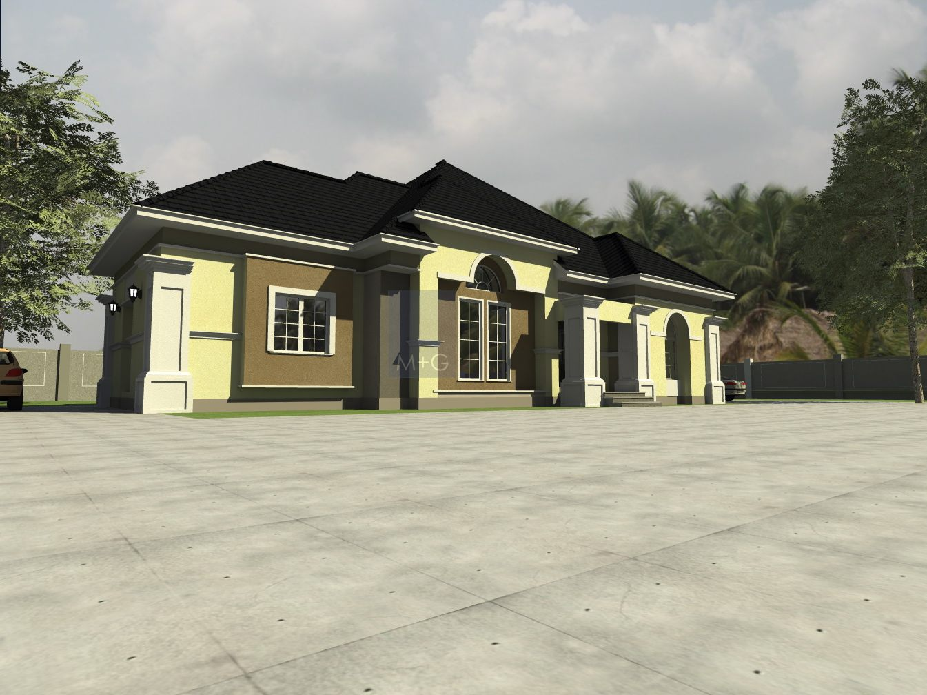 Modern bungalow design in nigeria modern house for Architectural designs for 3 bedroom flat