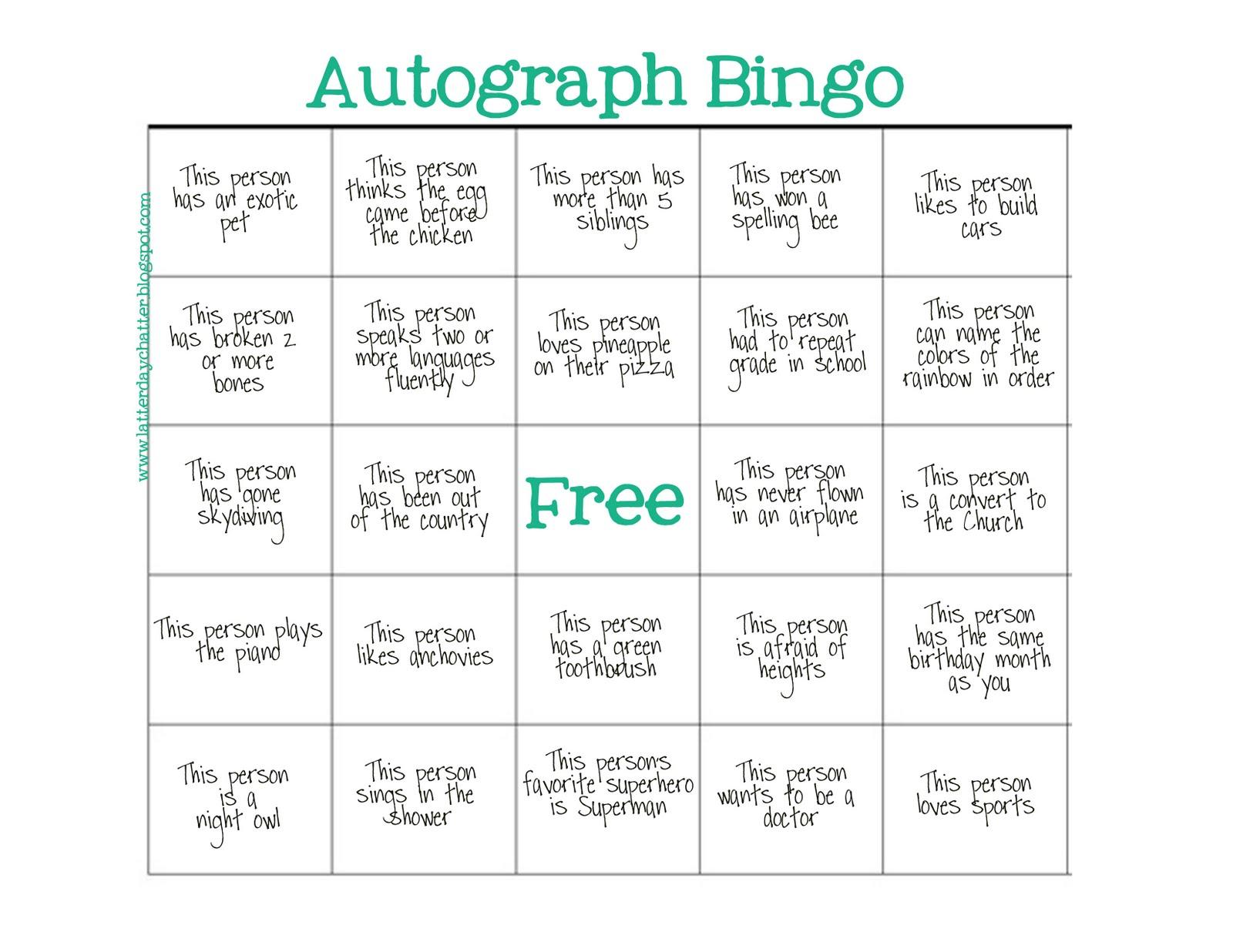 Latter Day Chatter Seminary Autograph Bingo