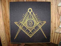 embroidered square & compass in the home of a mason